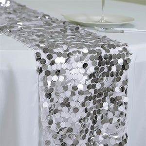 Premium Silver Payette Sequin Table Top Runners Wedding Catering Party Decorations  108x13""