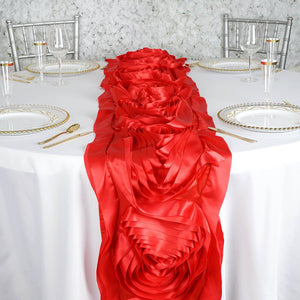 Red Silk Large Rosette Satin Table Runner