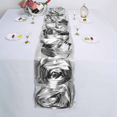 Silver Silk Large Rosette Satin Table Runner