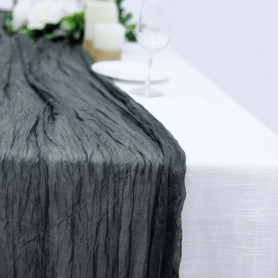 10FT Charcoal Gray Cheesecloth Table Runner, Gauze Fabric Boho Wedding Arbor Decor