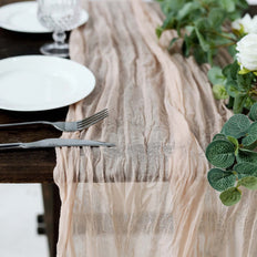 10FT Cheesecloth Table Runner, Gauze Fabric Boho Wedding Arbor Decor - Blush | Rose Gold