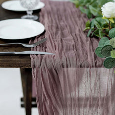 10FT Violet Amethyst Cheesecloth Table Runner, Gauze Fabric Boho Wedding Arbor Decor
