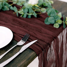 10FT Burgundy Cheesecloth Table Runner, Gauze Fabric Boho Wedding Arbor Decor