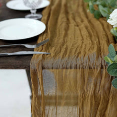 10FT Gold Cheesecloth Table Runner, Gauze Fabric Boho Wedding Arbor Decor