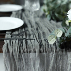 10FT Gray Cheesecloth Table Runner, Gauze Fabric Boho Wedding Arbor Decor