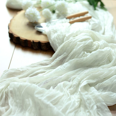 10FT Ivory Cheesecloth Table Runner, Gauze Fabric Boho Wedding Arbor Decor