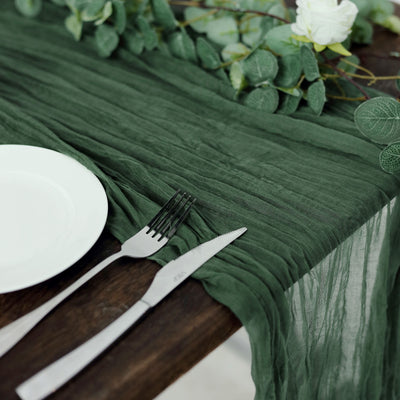 10FT Moss Green Cheesecloth Table Runner, Gauze Fabric Boho Wedding Arbor Decor
