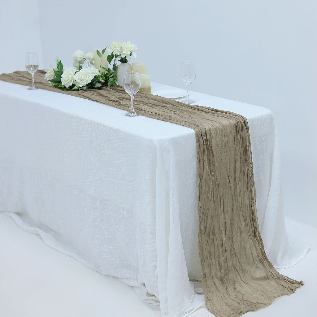 10ft Natural Cheesecloth Table Runner Gauze Fabric Boho Wedding Arbor Decor Tableclothsfactory