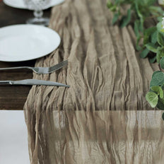 10FT Natural Cheesecloth Table Runner, Gauze Fabric Boho Wedding Arbor Decor
