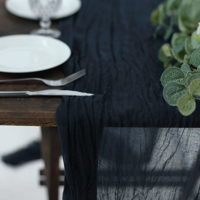 10FT Navy Blue Cheesecloth Table Runner, Gauze Fabric Boho Wedding Arbor Decor