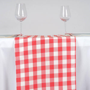 Wholesale Gingham Checkered Polyester Dinner Restaurant Table Top Wedding Catering Party Runner - WHITE / CORAL - 14x108""