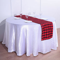 Buffalo Plaid Table Runner | Black / Red | Gingham Polyester Checkered Table Runner