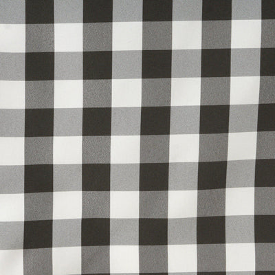 Wholesale Gingham Checkered Polyester Dinner Restaurant Table Top Wedding Catering Party Runner - WHITE / BLACK - 14x108""