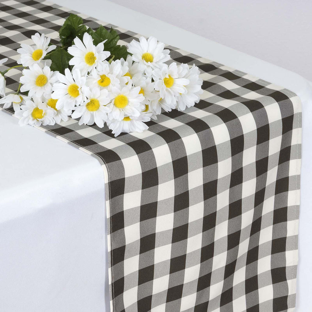 Black White Wholesale Gingham Polyester Dinner Table Runner Tablecloths Factory Tableclothsfactory Com