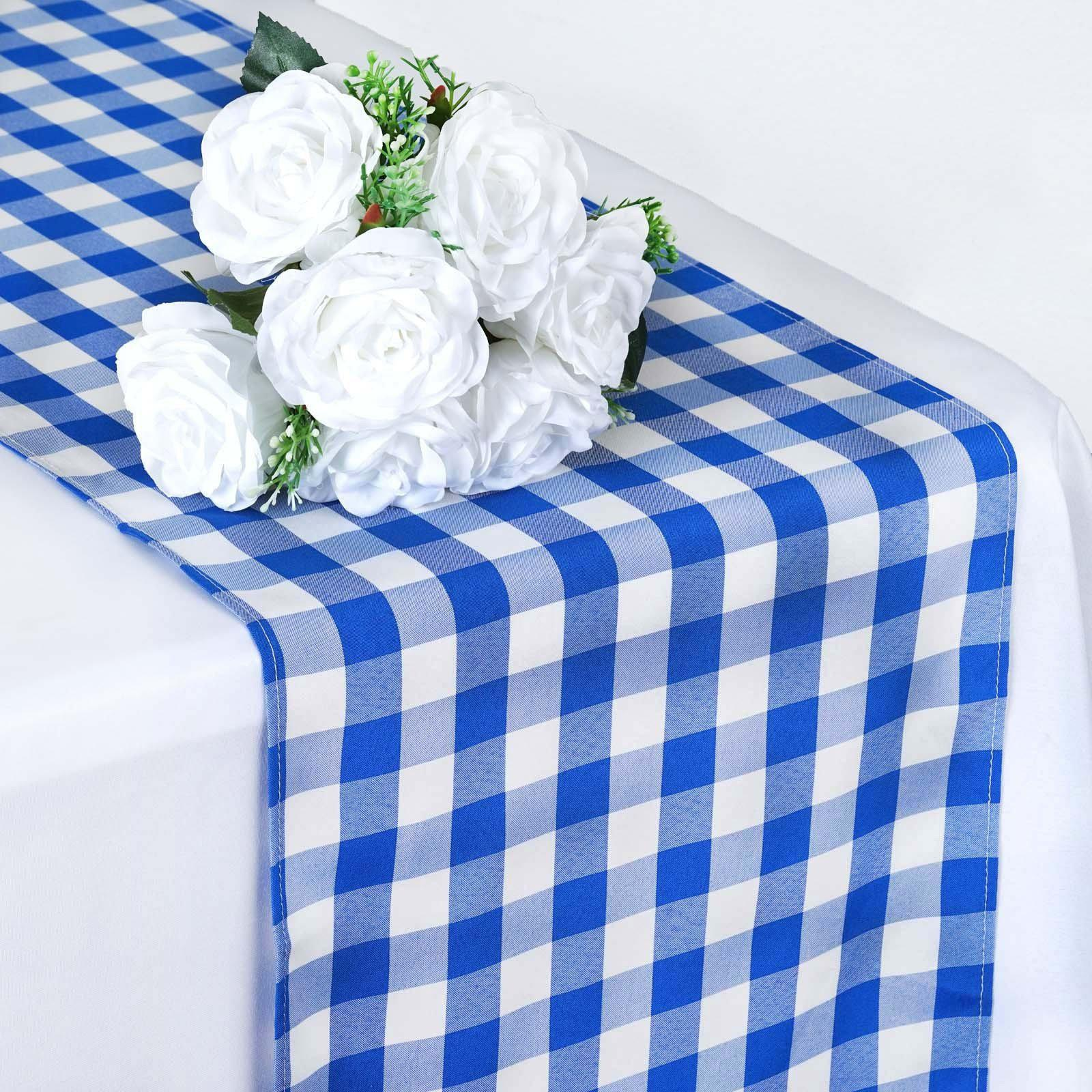 Wholesale Gingham Checkered Polyester Dinner Restaurant Table Top Wedding  Catering Party Runner   WHITE / BLUE