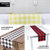 Buffalo Plaid Table Runner | Black / White | Gingham Polyester Checkered Table Runner
