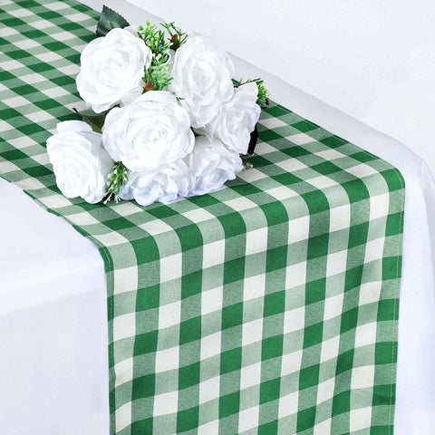Wholesale Gingham Checkered Polyester Dinner Restaurant Table Top Wedding  Catering Party Runner   WHITE / GREEN