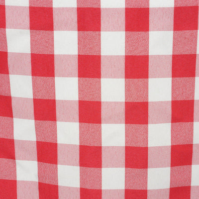 Wholesale Gingham Checkered Polyester Dinner Restaurant Table Top Wedding Catering Party Runner - WHITE / RED - 14x108""