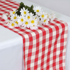 Buffalo Plaid Table Runner | Red / White | Gingham Polyester Checkered Table Runner