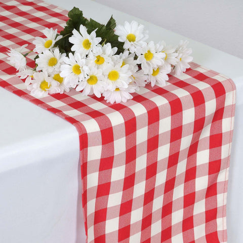 Bon Wholesale Gingham Checkered Polyester Dinner Restaurant Table Top Wedding  Catering Party Runner   WHITE / RED