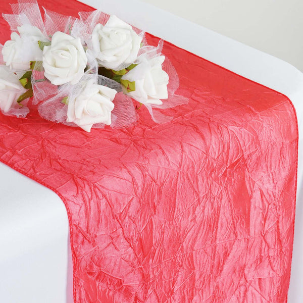 Coral Crinkle Crushed Taffeta Table Runner - Clearance SALE