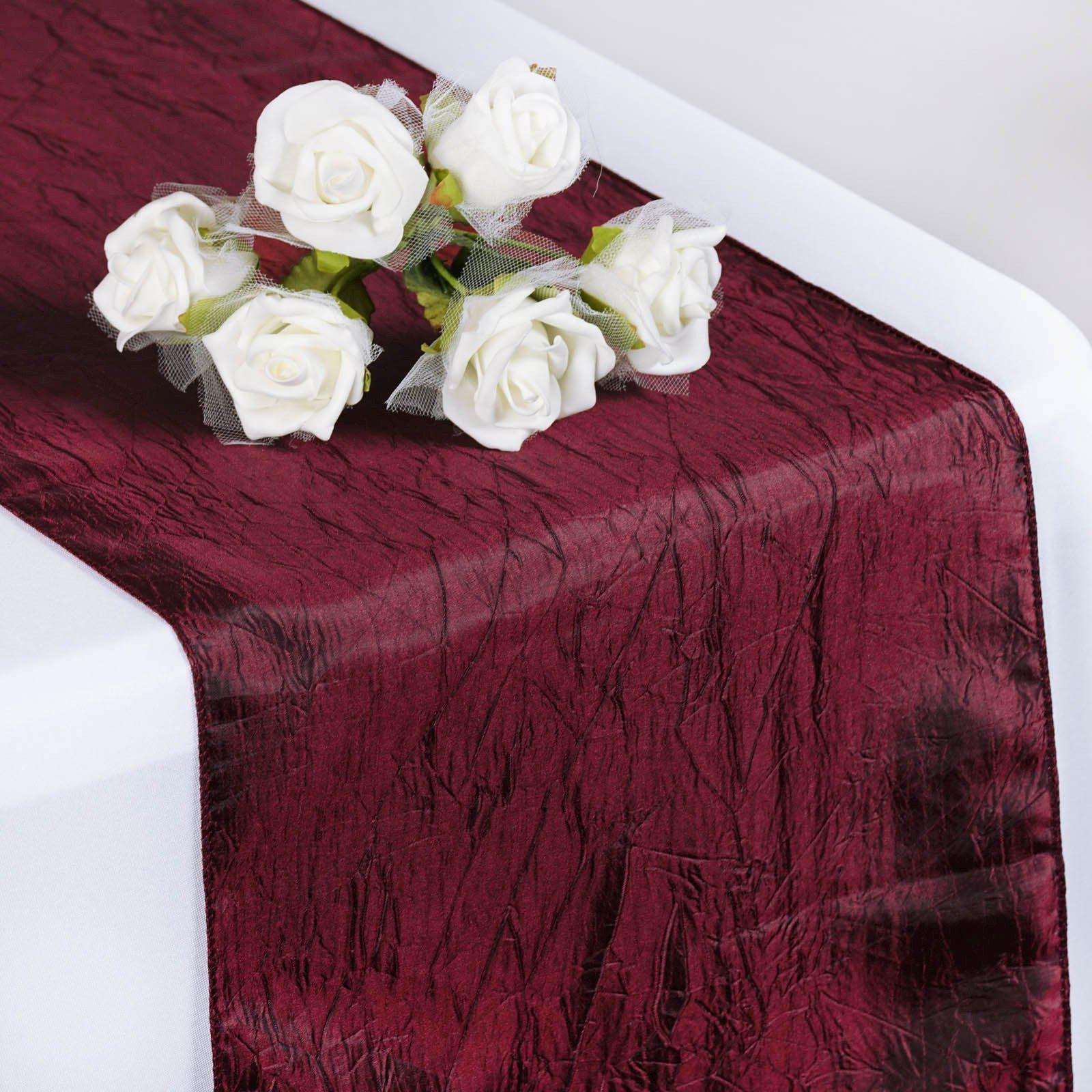 Merveilleux Table Runner Taffeta Crinkle   Burgundy ...