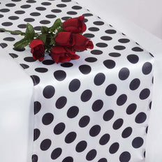 Polka Dot Satin Table Runner - White / Black