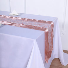 "14""x108"" Dusty Rose Satin Embroidered Sheer Organza Table Runner"