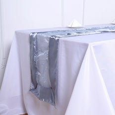 14 inch x 108 inch Dusty Blue Satin Embroidered Sheer Organza Table Runner