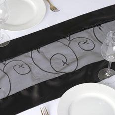 Table Runner Embroider - Black