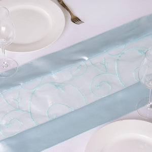 Table Runner Embroider - Light Blue