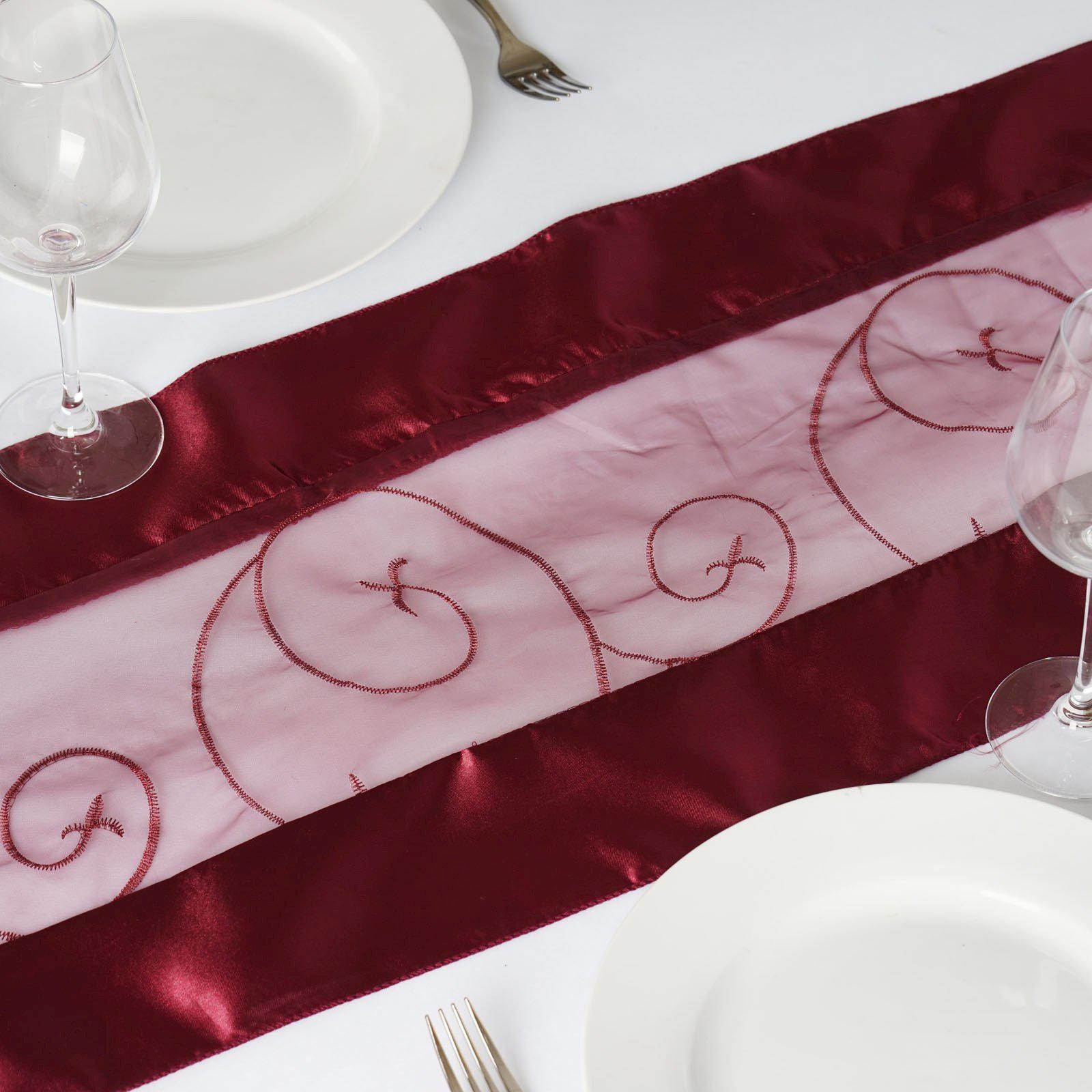 Table Runner Embroider   Burgundy; Table Runner Embroider   Burgundy ...