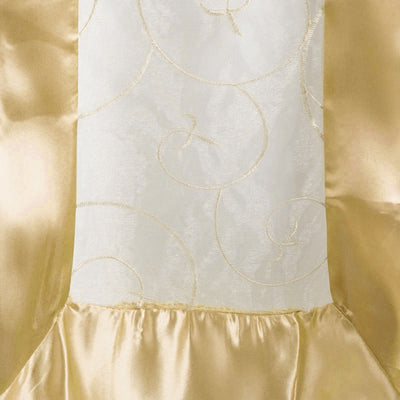 "14""x108"" Champagne Satin Embroidered Sheer Organza Table Runner"
