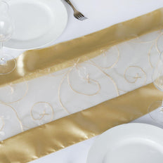 Table Runner Embroider - Champagne