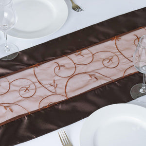 Table Runner Embroider - Chocolate