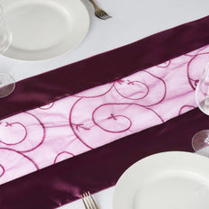 Table Runner Embroider - Eggplant