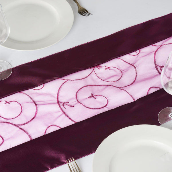 "14""x108"" Eggplant Satin Embroidered Sheer Organza Table Runner"