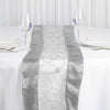 "14""x108"" Silver Satin Embroidered Sheer Organza Table Runner"