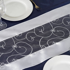 White Satin Embroidered Sheer Organza Table Runner