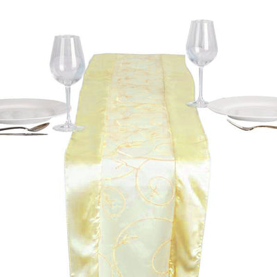 "14""x108"" Yellow Satin Embroidered Sheer Organza Table Runner"