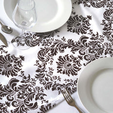 Table Runner Flocking - White / Chocolate