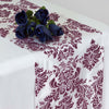 "12""x108""  Eggplant Taffeta Damask Flocking Table Runner"