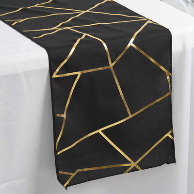 black and gold geometric design table runner, foil runner, black and gold table runner