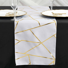 white and gold geometric design table runner, foil runner, white and gold table runner