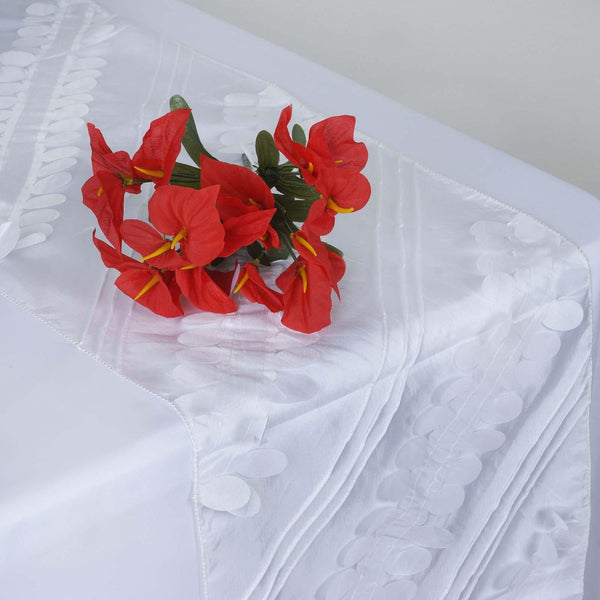 "14""x108"" White Premium Taffeta Table Runner"