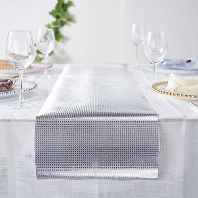 Glitter Paper Table Runner Roll, Disposable Table Runner with Diamond Pattern