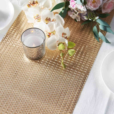 9Ft Gold Glitzing Table Runner, Disposable Glitter Paper Table Runner with Circle Pattern