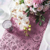 9Ft Glitzing Table Runner, Disposable Glitter Paper Table Runner with Vintage Floral Design - Rose Gold | Blush
