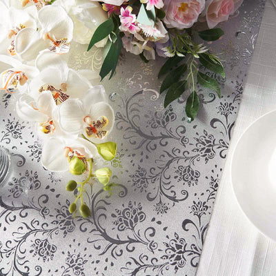 Glitter Paper Table Runner Roll, Disposable Table Runner with Vintage Floral Design