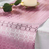 9Ft Glitzing Table Runner, Disposable Glitter Paper Table Runner with Geometric Honeycomb Design - Rose Gold | Blush